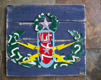 EOD Crab Master Badge Bomb Squad - Army Navy Air Force Marines AMERICA Recycled License Plate Art  - Upcycled Artwork