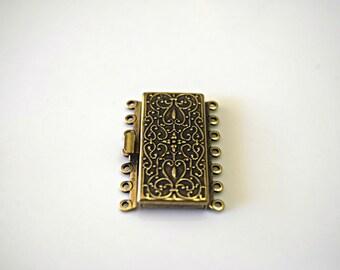 Vintage Look Oxidized Brass Clasp Brass Vintage Jewelry Making Clasps Brass Findings Clasps 7 Strand Clasps 36x26mm (1 pc) 18MV3