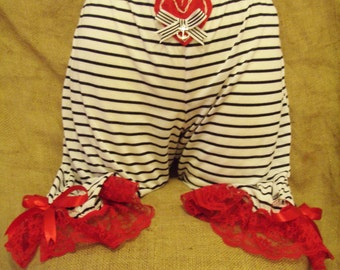 Cute,navy stripe,'above the knee' bloomers with red lace,red bow,heart and anchor! Burlesque,pin-up,circus,pirate,rockabilly,Victorian,50's!
