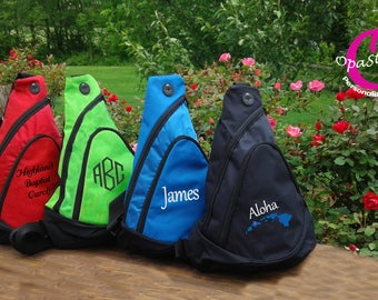 Budget shoulder sling bag, for sports teams, groomsmen, vacation, embroidered with your monogram, team number or name