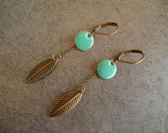 Turquoise and bronze earrings - Gypsy chic jewelry - Bohemian style