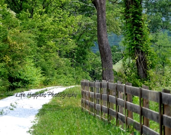Photography.  Art Print.  Country road.  White fence.