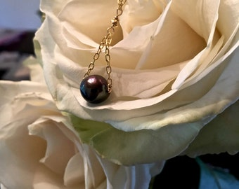 Black Freshwater Pearl and Vermeil Necklace