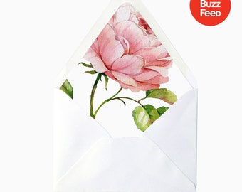 Watercolor Rose Floral Flower Envelope Liner, DIY Printable Garden Wedding Invitations