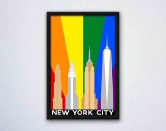 New York City, Philadelphia, Chicago, Washington DC Gay Pride Flag LGBTQ Posters - Multiple Cities