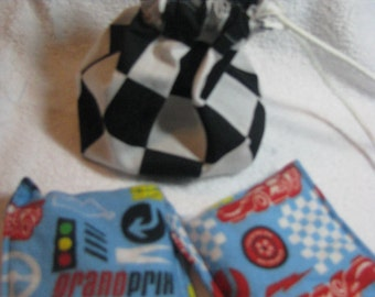 Boo boo bags gift set, rice filled flannel, therapy bags, heat therapy, cold therapy, boys gift set,auto racing, nascar, drawstring bag