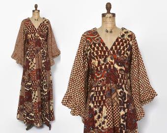 Vintage 70s Boho DRESS / 1970s Bohemian Batik Cotton Angel Sleeve Maxi