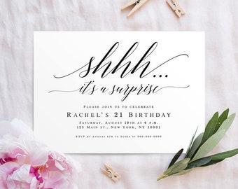 Shhh it's a surprise birthday invitation Surprise party invitation template Surprise party invitation men Surprise party invitation woman