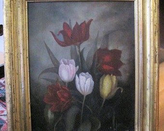 Antique Oil Painting Tulips Victorian 1800s
