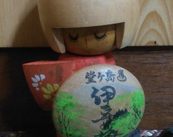 Little Cute Kokeshi doll, Japanese traditional vintage wooden doll