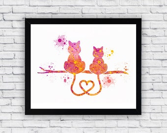 Cats in Love Watercolor print, Cats in Love Printable Wall Art, Cats in Love wall decor, Cats in Love poster