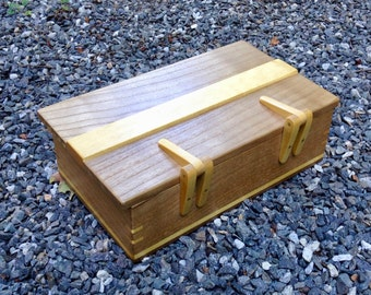Catalpa and Yellow wood Box with Maple Hinges