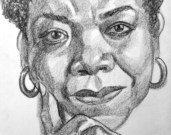 Maya Angelou , 9x12 inches,  crayon on paper by Kenney Mencher