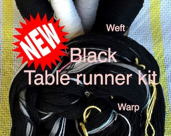 Black Table Runner Kit, Weaving Loom Kit, How to Weave Kit, Loom Weaving, DIY Weaving Kit, Pre-wound Warp, Handweaving