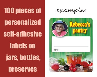 100 pieces of personalized self-adhesive labels on jars, bottles, homemade preserves, customisable, pantry labels, stickers