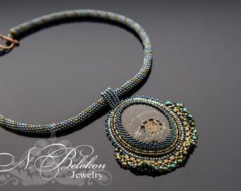 Choker denim style. Bead embroidery jeans necklace. Denim jewelry. Blue denim pendant. Simbircite Fossil shell cabochon