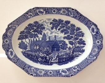 Cobalt Blue and White Porcelain Oval Vegetable Bowl Serving Platter Vintage Japan Rural Country Scene Water Mill Cottage Boy Fishing