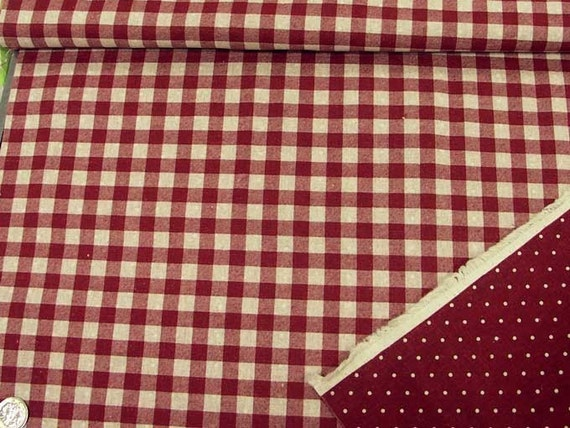 Reversible Print Checker And Dot (Red) Japanese Fabric   110cm X 50cm by Etsy