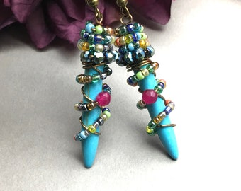 Turquoise Spike Earrings, Turquoise Howlite, Beaded Turquoise, Wire Wrapped Turquoise Stone Earrings