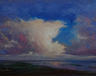 Original Oil Painting, Lough Corrib Evening, Co Mayo, Ireland, Irish Art, Paintings of Ireland, Landscape, Realism Painting, Small Painting