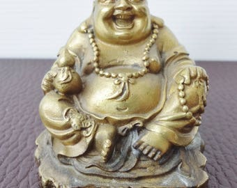 Small Vintage Chinese Cast Bronze Laughing (Happy) Buddha Statue / Figurine with Chinese Script   Circa 1980's