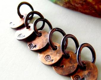 One Tiny Snail Copper Charm Oxidized