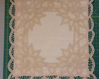 Battenburg lace pillow cover.