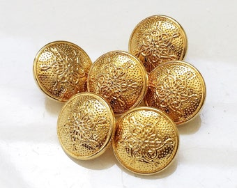nos vintage high luster polished gold tone metal shank buttons with symmetrical snowflake and dimpled design--matching lot of 6