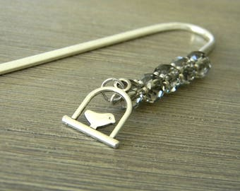 Bird on a Perch Bookmark with Smoky Quartz Glass Beads Shepherd Hook Silver Color Steel Bookmark