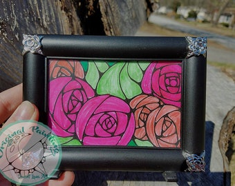 Stained Glass Roses Illustration