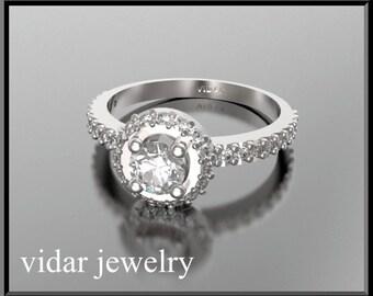 Engagement Ring,Diamond Engagement Ring,Halo Engagement Ring,Unique Engagement Ring,14K Gold Engagement Ring,Womens Engagement Ring