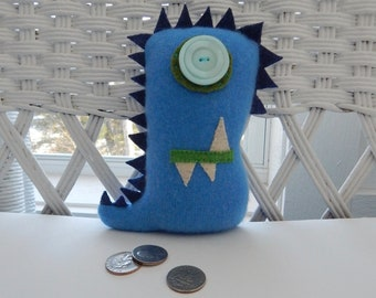 Recycled Cashmere Monster Tooth Fairy Pillow -  Blue