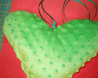 Irish St. Pat's Minky heart pillow with note pocket on reverse side.  Ready to ship. Other combos available in custom. sizes.
