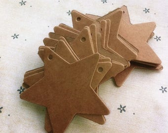 LOT 25 TAG STAR KRAFT + STRING SCRAP SCRAPBOOKING SCRAP WEDDING GIFT TAGS