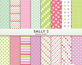 """Digital Scrapbook Paper - """"Sally 2""""  -  Scrapbooking Instant Download G7372"""