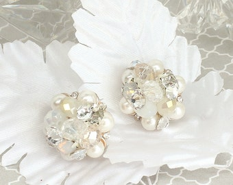 Art Deco Bridal Studs- Ivory Bridal Studs- Bridal Cluster Earrings- Rhinestone Studs- Wedding Earrings- Vintage Inspired Studs-Clip Earrings