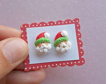 Santa Earrings - Christmas Earrings - Stud Earrings - Santa Jewelry - Secret Santa Gift - Christmas Gift