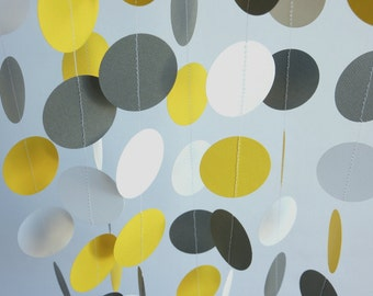 Yellow - Gray - White Paper Garland, Wedding, Bridal Shower, Birthday, Baby Shower, Nursery
