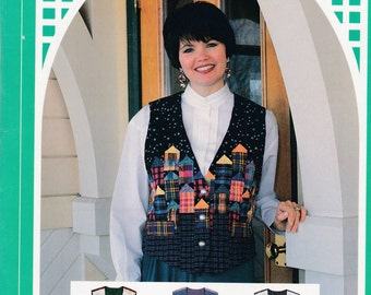 Folkart House Applique Vest Uncut Sewing Pattern Free US Shipping 1994 XS ~ XL