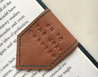 Magnetic Bookmark | Leather Bookmark Rose Taupe with Teal Suede Lining | Personalise Bookmark | 3rd Anniversary Gift | Book Lover Gift