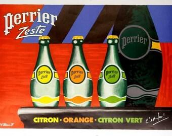 Villemot Perrier Zeste by Villemot on linen excellent Vintage french poster