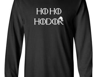Long Sleeve Men's Ho Ho Hodor T Shirt Hold The Door Stark Game Of Thrones Tee T-shirt Winter