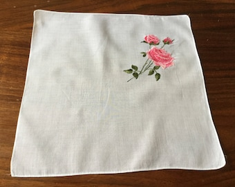 Vintage White Handkerchief with Embroidered Pink Roses