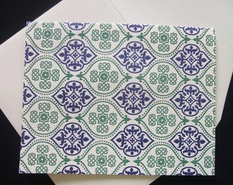 Note Cards - Letterpress  Navy and Green (Set of 10)