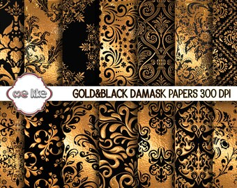 Digital Black and Gold Damask Paper Pack-Gold and Black Printable Paper, Gold Damask Background INSTANT DOWNLOAD-Personal or Commercial Use