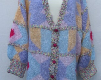 Hand knitted Mohair 'Big is Beautiful' Tutti Fruiti Cardigan