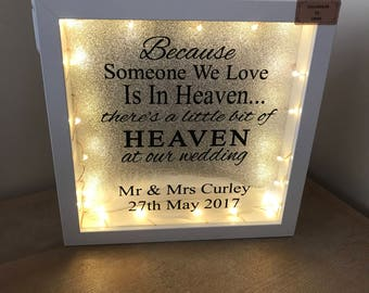 Wedding day someone we love in heaven light up frame