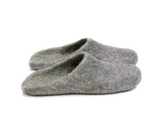 Gray green felted woolen slide slippers with latex soles and alpaca wool, house shoes for men, grandfather gift, husband gift