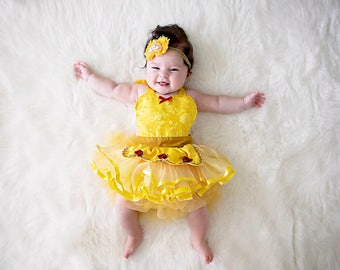 Belle costume,  Belle baby costume, baby princess costume, newborn photo prop, princess cake smash outfit, baby girl Halloween costume