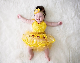 belle costume belle baby costume baby princess costume newborn photo prop princess cake smash outfit baby girl halloween costume sc 1 st etsy